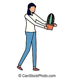 gardener woman work gardening design