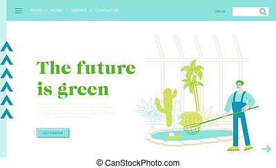 Gardener Worker Landing Page Template. or Botanist Scientist...