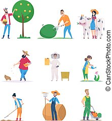Gardeners and farmers. Happy characters growth vegetables agriculture workers vector cartoon people