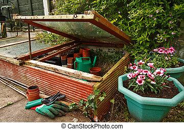 Gardeners cold frame - Gardeners Cold frame in the garden,...