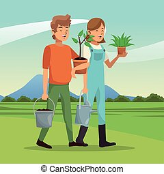gardeners couple plant pot water can landscape vector...