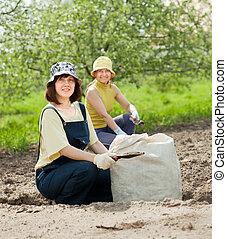gardeners fertilizes soil - Female gardeners fertilizes the...