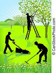 Gardeners gardening