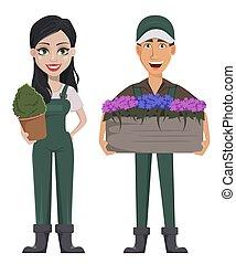 Gardeners, man and woman