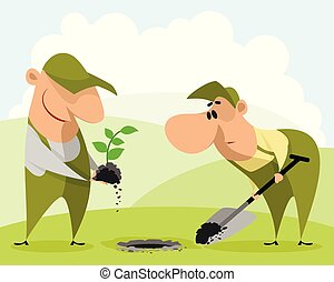 Gardeners planting a plant