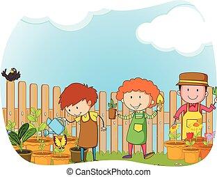 Gardeners planting in the garden illustration