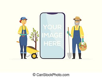 Gardeners with tools - cartoon people characters illustration