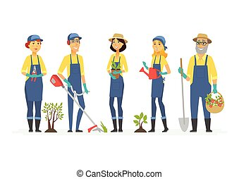 Gardeners with tools - cartoon people characters isolated illustration