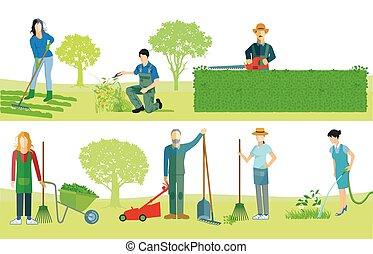 Gardeners work .eps