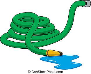 GardenHose - An Illustration of a green rolled up garden...