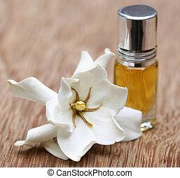 gardenia, of, gondhoraj, bloem, met, essentie, fles