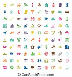 gardening 100 icons set for web - gardening 100 icons set...