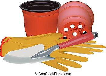 gardening accessories - Scoop gloves and pots for gardening...