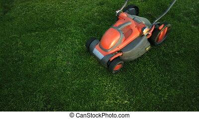 Lawn mower cutting the grass - Gardening Activity. Lawn...