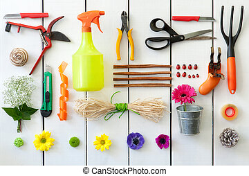 Gardening and florist tools. - Close up of gardening and...