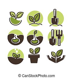 Gardening and planting vector icons of green plant flower ...