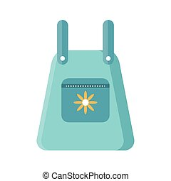 gardening apron with flower icon, flat detail style
