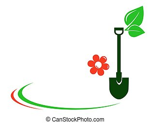 gardening background with shovel - gardening background with...