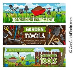 Gardening banners vector gardener equipment - Gardening...