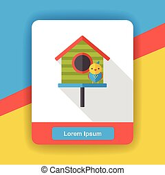 Gardening bird house flat icon