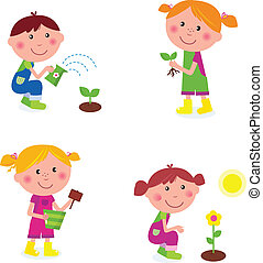 Boy and girl with green plants and garden elements. Vector