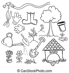 Gardening - Vector illustration of gardening in doodle style