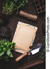 Gardening concept with paper card