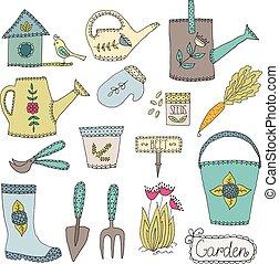 gardening design elements - Hand drawn gardening tools,...