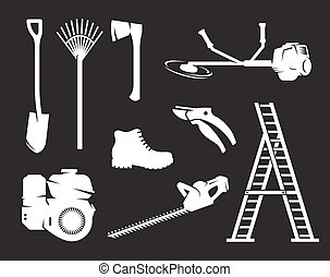 Gardening equipment icons. White on a black backgrond