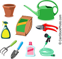 gardening equipment on white background