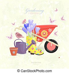 gardening equipment with spring flowers on floral grunge backgro