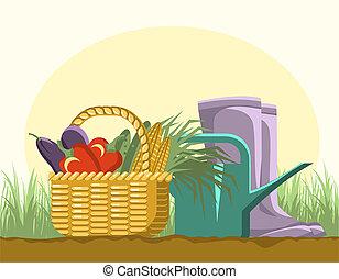 gardening equipments and harvest in cart.Vector garden...