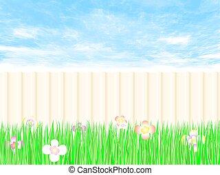 Gardening fence a backyard with blue sky.