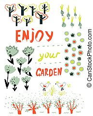 Gardening funny card with trees, flowers, birds and garden planning