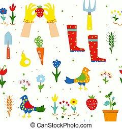 Gardening funny seamless pattern illustration