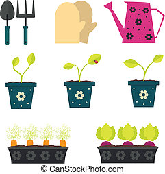 Garden and gardening tools set in cartoon flat style.