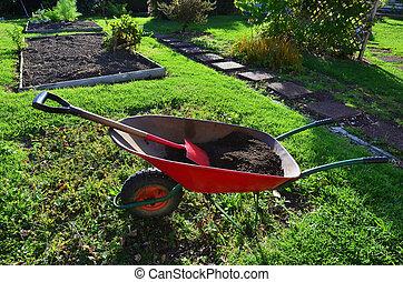 Gardening - Gardner - Gardner has a tea break overlooking...