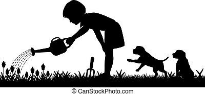 Editable vector silhouette of a young girl watering her garden and two puppies with figures as separate objects