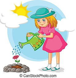 gardening girl - girl watering a flower in the garden