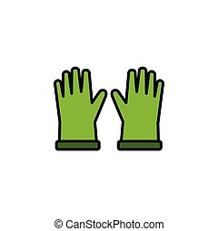 Gardening gloves. Filled color icon. Clothes vector ...