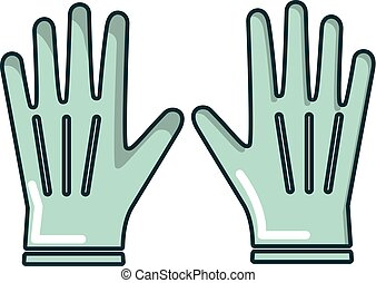 Gardening gloves icon, cartoon style