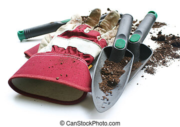 Gardening gloves - Used gardening / work gloves and tools - ...