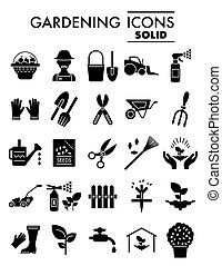 Gardening glyph icon set, farm symbols collection, vector sketches, logo illustrations, horticulture signs solid pictograms package isolated on white background, eps 10.