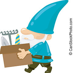 Gardening Gnome - Illustration of a Gnome Carrying a Box of...