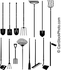 gardening hand tools - Silhouette set of long handled ...