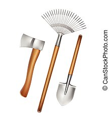 Gardening hand tools - Vector gardening hand tools: rake, ...