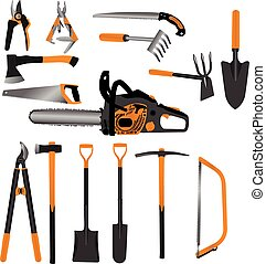 Gardening handle tools set including chainsaw, handsaws, scissors, ax hatchet, spade, rake, pickax and multifunction tools collection