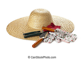 gardening hat and tools - Isolated image of gardening hat ...