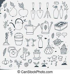 Gardening, horticulture vector set
