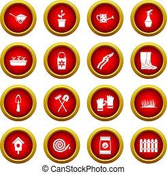 Gardening icon red circle set